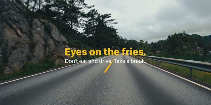 McDonald's призывает своих клиентов не смотреть на вкусный картофель фри, управляя автомобилем